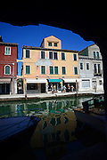 Colourful buildings along the canals of Murano, Venice, Italy