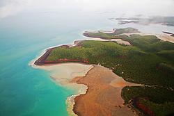Wet season aerial view of Kingfisher Island on the Kimberley coast.