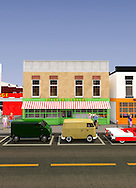 Toy Town USA Main Street with Discount Grocer Store Front and cars.