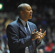 "LSU head coach Johnny Jones reacts against Mississippi at the C.M. ""Tad"" Smith Coliseum in Oxford, Miss. on Wednesday, January 15, 2013. (AP Photo/Oxford Eagle, Bruce Newman)"
