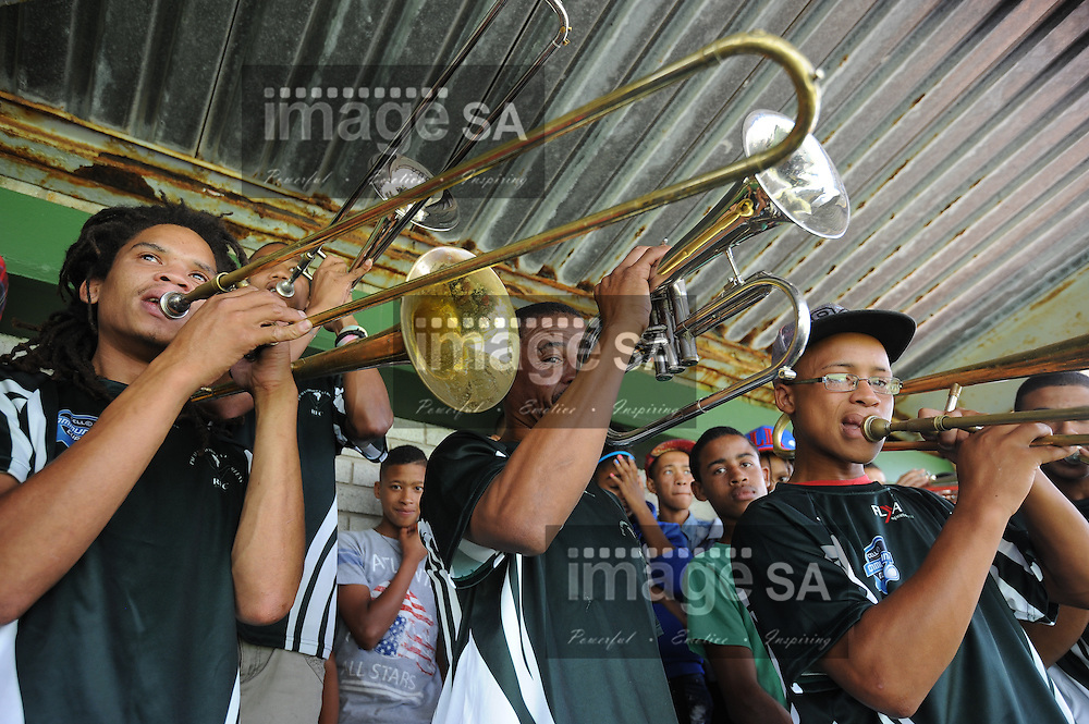 GEORGE, SOUTH AFRICA - Saturday 7 March 2015, the Pacaltsdorp Brass Band during the third round match of the Cell C Community Cup between Pacaltsdorp Evergreens and Vaseline Wanderers at Pacaltsdorp Sports Grounds, George<br /> Photo by Roger Sedres/ImageSA/ SARU