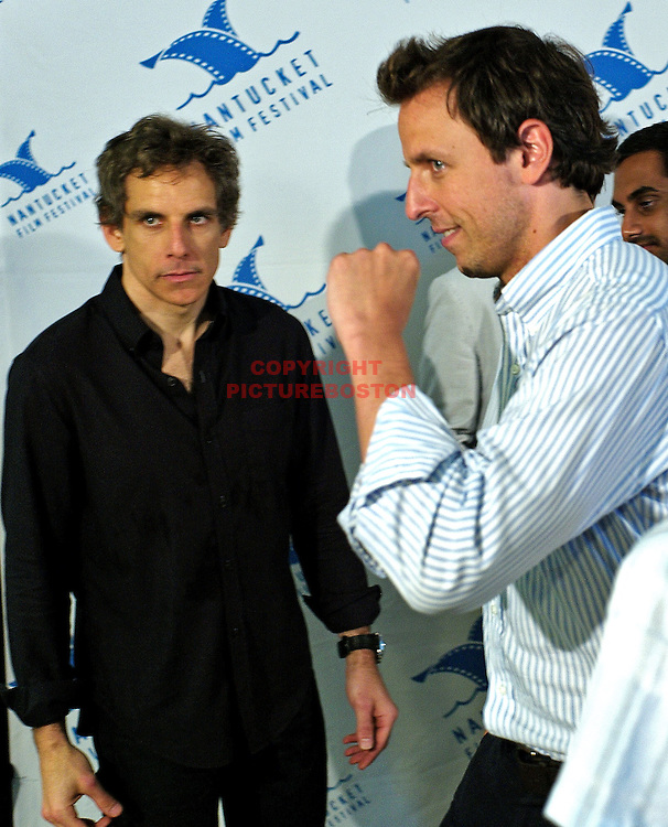 Ben Stiller and Seth Meyers ham it up as they are seen at the Nantucket Film Festival, June 26,2011with from left, Colin Stanfield, Ben Stiller, Aziz Ansari. Staff photo by Mark Garfinkel