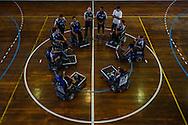 The Power Soccer Rio de Janeiro team at the end of a training session.