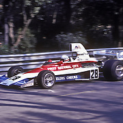 American driver Mark Donohue handles his Penske-Ford during the training sessions of the 1975 Spanish Grand Prix