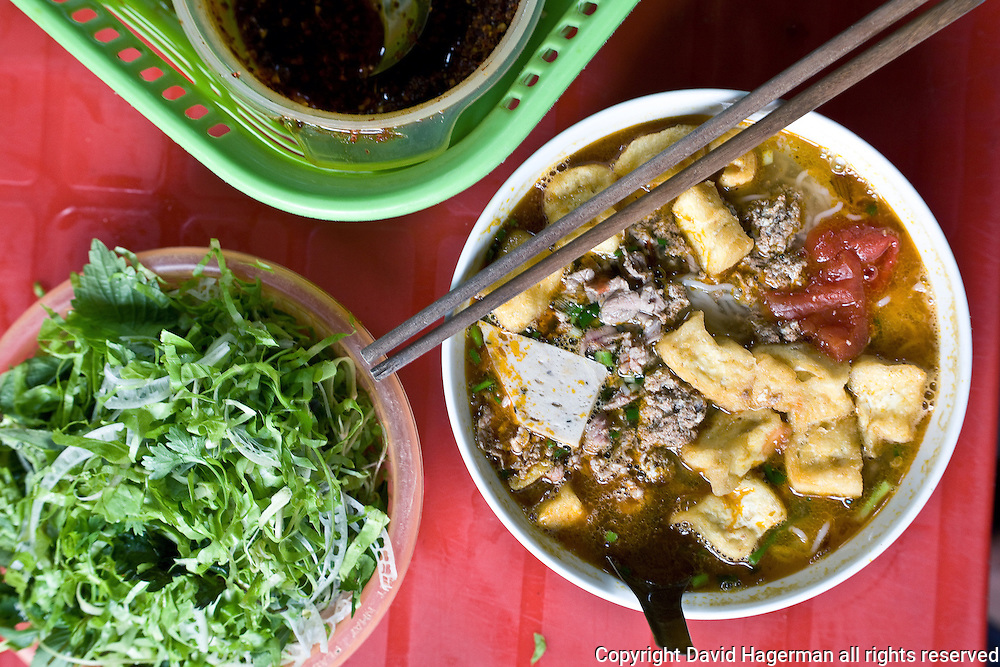 bun rieu,rice noodles served with paddy crab, hanoi, vietnam