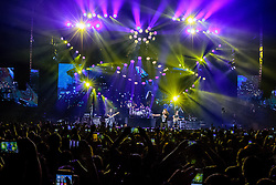 INGLEWOOD, CA - SEPTEMBER 24: Bassist Juan Calleros (L), frontman Fher Olvera, drummer Alex Gonzalez and guitarist Sergio Vallin of Mana perform on stage during a stop of the band's Latino Power Tour at the Forum on September 24, 2016 in Inglewood,California USA. Byline, credit, TV usage, web usage or linkback must read SILVEXPHOTO.COM. Failure to byline correctly will incur double the agreed fee. Tel: +1 714 504 6870.