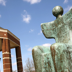 The Sentinel statue rests against a blue sky in March of 2013.