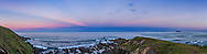 A panorama of a seascape at twilight looking east at sunset, to reveal the shadows being cast by clouds behind the camera in the west, and here converging toward the anti-solar point in the northeast. These are called anti-crepuscular rays. Shortly after I shot this panorama the Full Moon rose on the horizon near where the rays are converging. However, by moonrise time, the crepuscular rays had faded. Also evident, the pink Belt of Venus and the dark blue arc of Earth&rsquo;s shadow, here mixed with dark shadowed clouds on the horizon at sea.<br /> <br /> I shot this April 22, 2016 from the Headlands viewpoint at Woolgoolga, NSW, Australia. <br /> <br /> This is a 7-section panorama with the 35mm lens in landscape orientation, with each section a 5-exposure HDR high-dynamic range stack of exposures from dark to light to record the range of brightness from the bright sky to the dark foreground. All stacking, tone-mapping and stitching with Adobe Camera Raw.