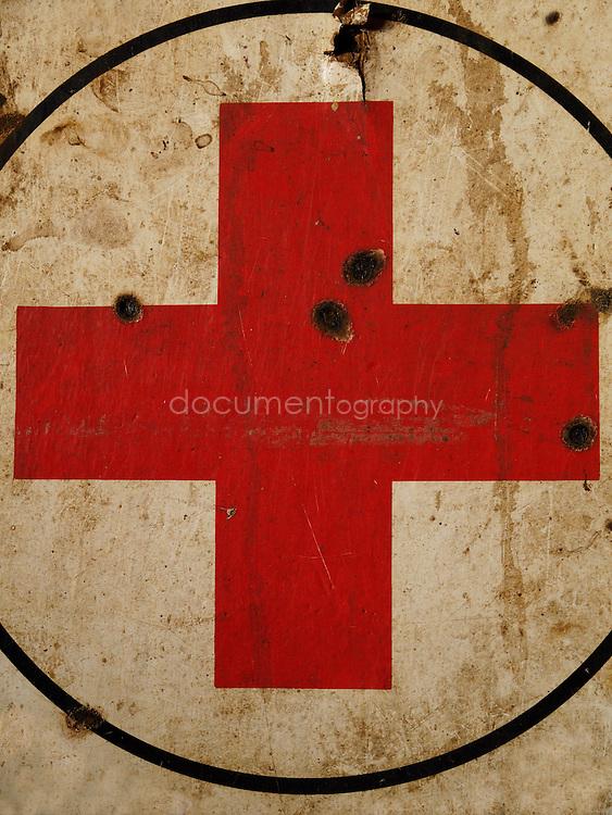Red cross sign, Kroo Bay, Freetown, Sierra Leone.