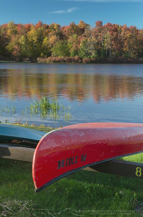 Red canoe, Lake Jean, Ricketts Glen Pennsylvania