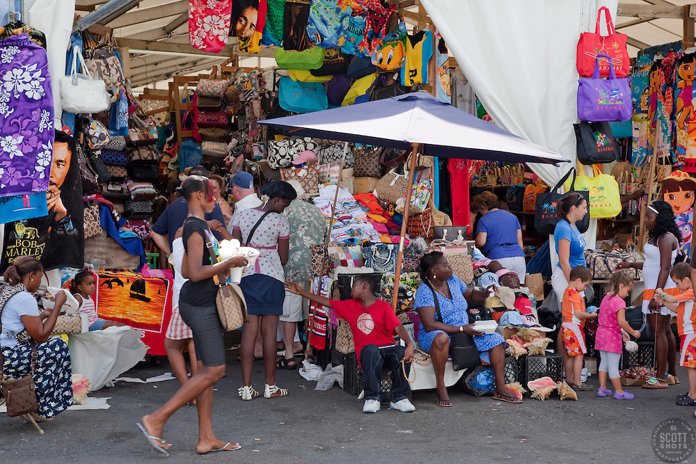 People shopping at Prince George Wharf, Nassau, Bahamas.