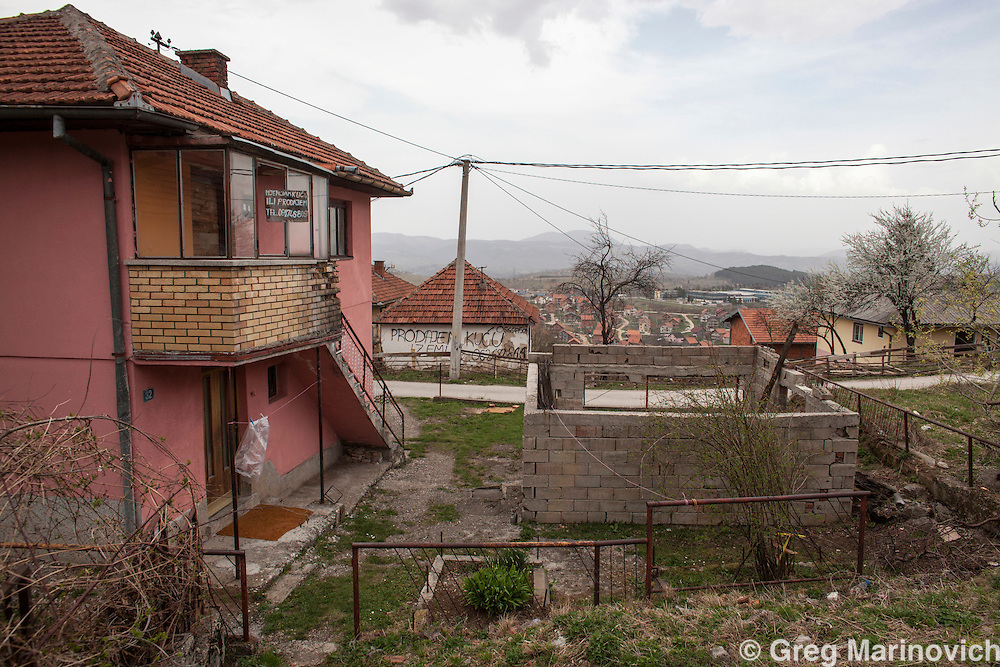 Vlasenica, Bosnia and Herzegovina, Republika Srpska, Bosnian homes for sale in this majority Serb municipality.  April 4, 2012. Greg Marinovich