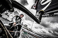 Image licensed to Lloyd Images.<br /> The Extreme Sailing Series 2015. Act 4 - Cardiff. UK<br /> The Wave, Muscat skippered by Leigh McMillan (GBR) and crewed by Sarah Ayton (GBR), Pete Greenhalgh (GBR), Ed Smyth (NZL), Nasser Al Mashari (OMA).<br /> Credit: Lloyd Images