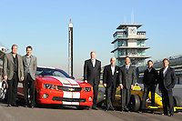 Chevrolet Indy Car engine announcement, Indianapolis Motor Speedway, Roger Penske, Randy Bernard, Al Unser Jr., Will Power, Helio Castroneves, Arie Luyendyke, Tom Stephens