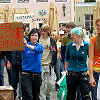 Europe, Estonia, Tallinn. Local Estonian teenagers march in demonstration in Tallinn.