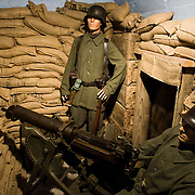 Mannequin dressed in Imperial German Army uniform in a reconstructed WWI German trench at the the Somme Trench Museum in Albert (Musée Somme 1916)The museum is in the old crypts under the basilica of Albert and shows scenes of trench life from WWI, original uniforms, war paraphernalia  and other items rescued from the fields. s
