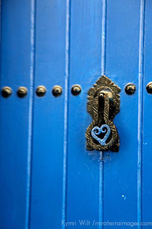 Africa, Morocco, Rabat. Blue Door of Kasbah of Oudaya, a UNESCO World Heritage Site.
