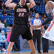 "Idaho Stampede Forward Jack Cooley (22) attempts to post up Delaware 87ers Forward Keith ""Tiny"" Gallon (41) in the first half of a NBA D-league regular season basketball game between the Delaware 87ers and the Idaho Stampede (Utah Jazz) Tuesday, Feb. 03, 2015 at The Bob Carpenter Sports Convocation Center in Newark, DEL"