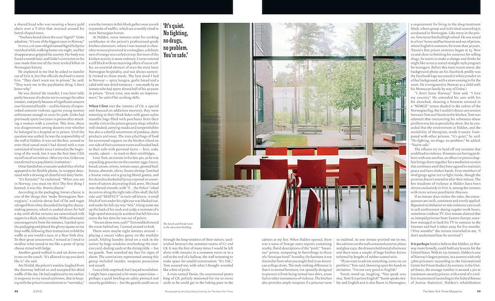 Tearsheets: New York Times Magazine: Halden Fengsel. Knut Egil Wang/Moment