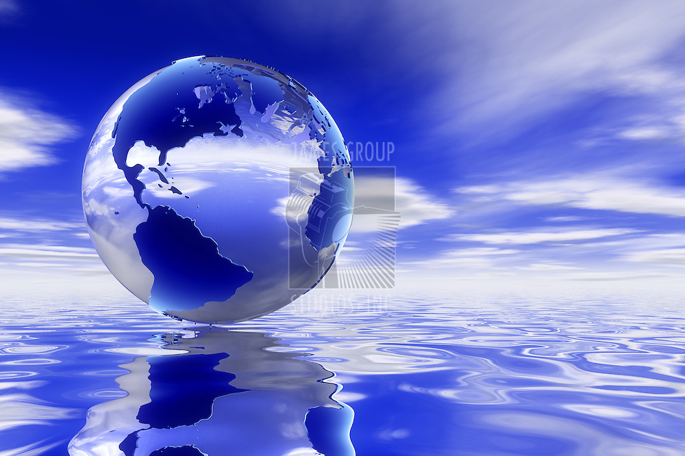 A high quality Glass 3d earth over a clean ocean reflecting the deep blue skyscape.