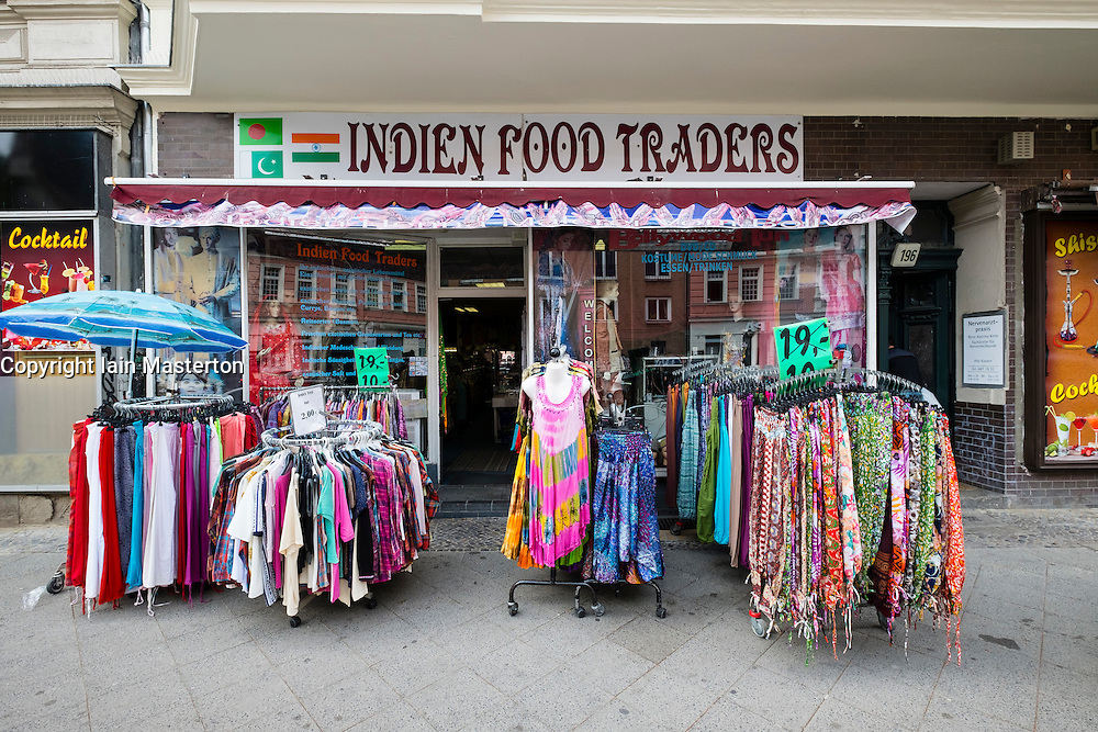 Indian shop on Karl Marx Strasse in multicultural district of Neukolln in Berlin Germany
