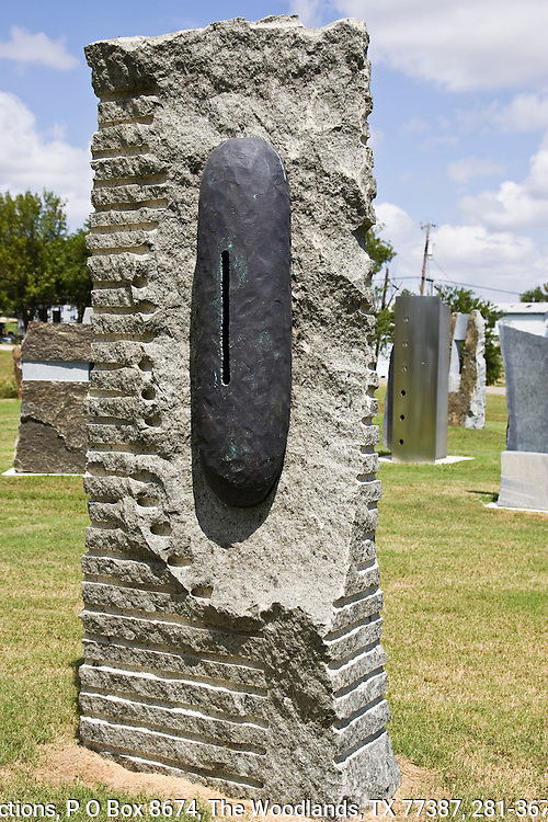 Jim Huntington, operates the Huntington Sculpture Foundation in Coupland, Texas. This granite and cooper sculptures grace the sculpture garden on Hoxie and Broad Street.
