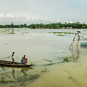 The Brahmaputra river outside Tezpur, Assam state, India