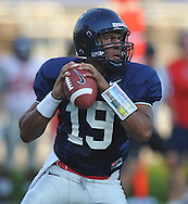 Ole Miss quarterback Evan Ingram (19) looks to pass during a scrimmage at Vaught-Hemingway Stadium in Oxford, Miss. on Saturday, August 20, 2011.