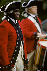 African american reenactor American Revolutionary War army soldier band member.
