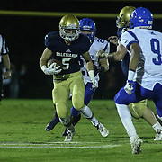 Salesianum wide receiver Jeremy Ryan (5) catches the ball in the second quarter Friday, Oct. 09, 2015 at Bernard Stadium in Wilmington, DE.