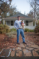 """Contractor Hal Leggett with his dog, Cooper, on the first day of a one year renovation project on a home in Calistoga.  """"Today I am establishing a beachhead...this will be a long term project.""""  lcinal@comcast.net"""