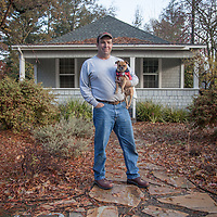 "Contractor Hal Leggett with his dog, Cooper, on the first day of a one year renovation project on a home in Calistoga.  ""Today I am establishing a beachhead...this will be a long term project.""  lcinal@comcast.net"