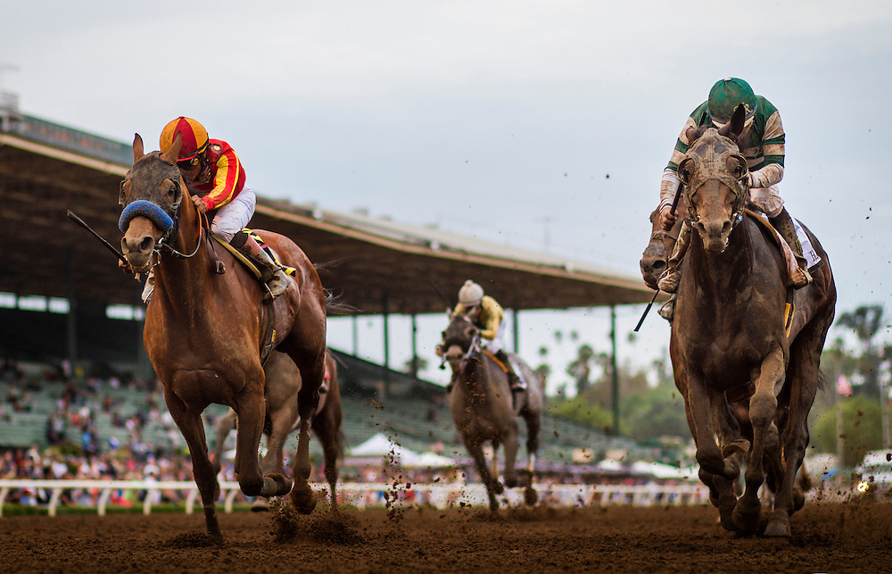 June 27 2015: Hard Aces with Victor Espinoza up narrowly defeats Hoppertunity and Martin Garcia to win the Santa Anita Gold Cup at Santa Anita Park in Arcadia CA. Alex Evers/ESW/CSM