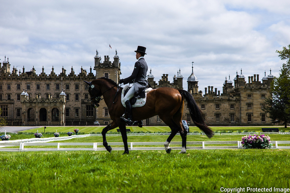 Floors Castle, Kelso, Roxburghshire, UK. 14th May 2015. Floors Castle International Horse Trials began on Thursday with the Dressage category.