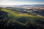 Aerial view over Maysara Winery and Momtazi biodynamic Vineyard, McMinnville AVA, Willamette Valley, Oregon