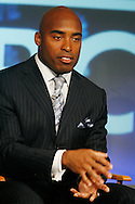 """Former New York Giants running back Tiki Barber speaks to members of the media as he is introduced as a news correspondent for NBC's """"The Today Show"""" in New York, February 13, 2007. Barber will also be a sports analysts for NBC's """"Football Night in America""""."""