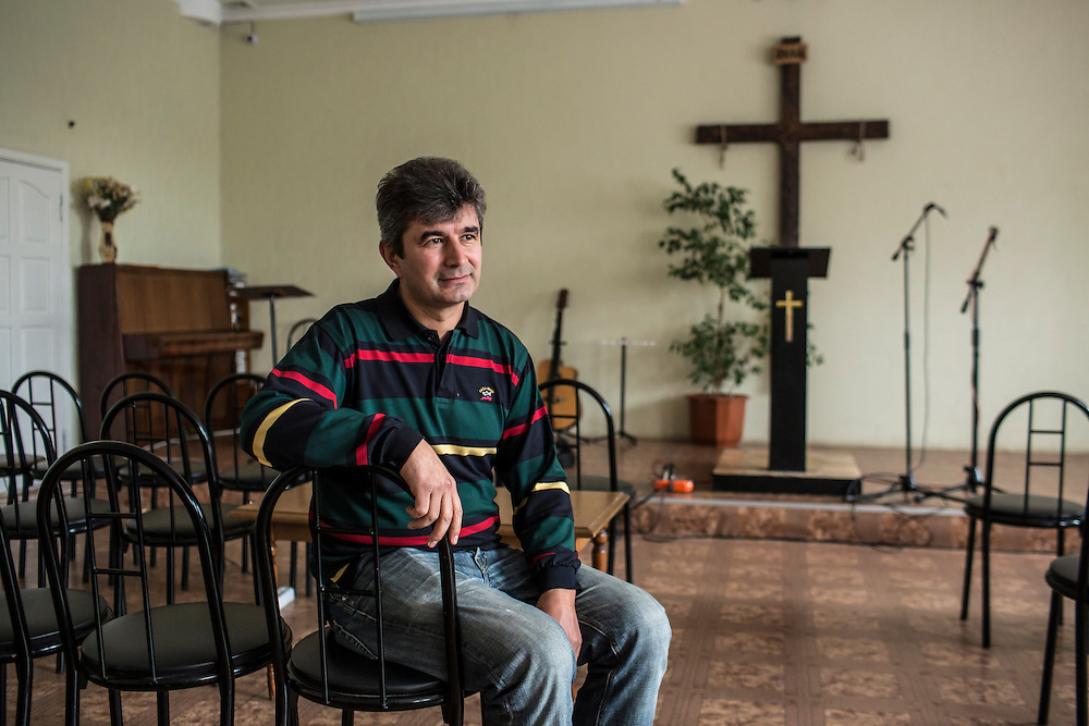 Pastor Aleksandr Moseychuk poses for a portrait at the New Life Christian Church on Thursday, October 16, 2014 in Donetsk, Ukraine. Photo by Brendan Hoffman, Freelance