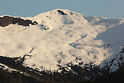 A snowy mountain glows in the setting sunlight along Canada's Inside Passage, as we near Prince Rupert