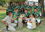 STELLENBOSCH, SOUTH AFRICA - Wednesday 20 January 2016, Back (from left to right) Sandile Ngcobo, Rosko Specman, Justin Geduld, Ryno Benjamin, Philip Snyman, Francois Hougaard, Juan de Jongh and Cheslin Kolbe. Front is Kwagga Smith, Seabelo Senatla, Carel du Preez and Chris Dry with the cheetah, Phoenix, during the launch of Springbok 7's new jersey with Steinhoff International as sponsor at the Markotter Indoor facility in Stellenbosch.<br /> Photo by Roger Sedres/ImageSA