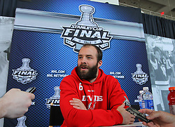 May 29; Newark, NJ, USA; New Jersey Devils defenseman Andy Greene (6) during Stanley Cup Finals media practice day at the Prudential Center.