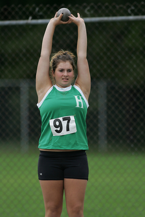 Justine Vidal competing in the shot put at the 2007 Ontario Legion Track and Field Championships. The event was held in Ottawa on July 20 and 21.