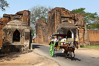 Tharabar Gate Horse Cart, Old Bagan - The gateway to Old Bagan is Tharabar Gate, the best preserved remains of the wall surrounding the former original palace site built in the 9th century.