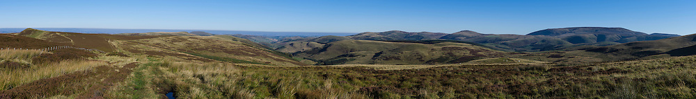 Dere Street, Hownam, Kelso, Scotland, UK. 1st October 2015. Looking north up the Bowmont valley from Dere Street on the Scottish English Border in the Cheviot Hills.