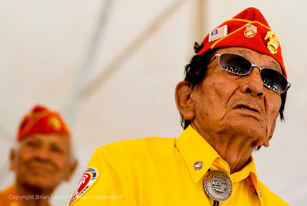 081408      Brian Leddy.Navajo Code Talker Samual Holiday wait for services to start at the Navajo Code Talker Day festivities in Window Rock.