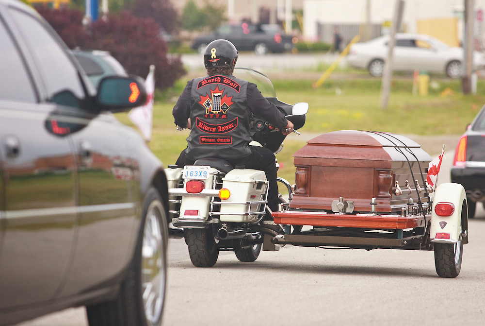 Bob Probert's casket leaves Windsor Christian Fellowship church in Windsor, Ontario July 9, 2010 following the former Detroit Red Wings enforcer's funeral after his sudden death earlier this week at the age of 45.<br /> The Canadian Press/GEOFF ROBINS