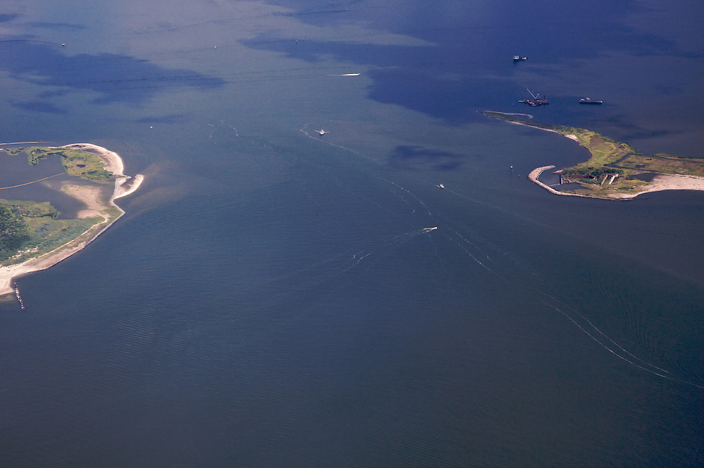 Barataria Pass, Grand Isle (L) and Fort Livingston (R), Louisiana, USA