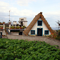 Europe, Portugal, Madeira, Santana. Casa de Colmo, a traditional thatched roof house on the island of Madeira.