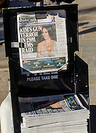 London, England - October 03, 2016: Newspaper Headline of Kim Kardashian Robbery in Paris apartment where £8.5 Million worth of Jewellery was stolen at gunpoint.
