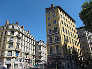On the eastern banks of the Saône river in lyon are some painted houses (trompe l'oeil) - the windows at the end of this house are painted, while the windows on the longer side are real.