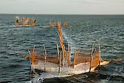 Fishing nets and fish traps. Jaffna lagoon.